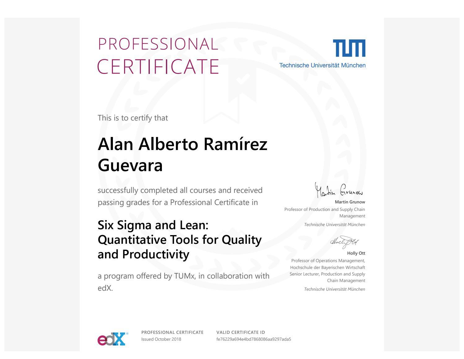 Six Sigma Courses Edx Tum By Alan Alberto Ramrez Guevara Issuu