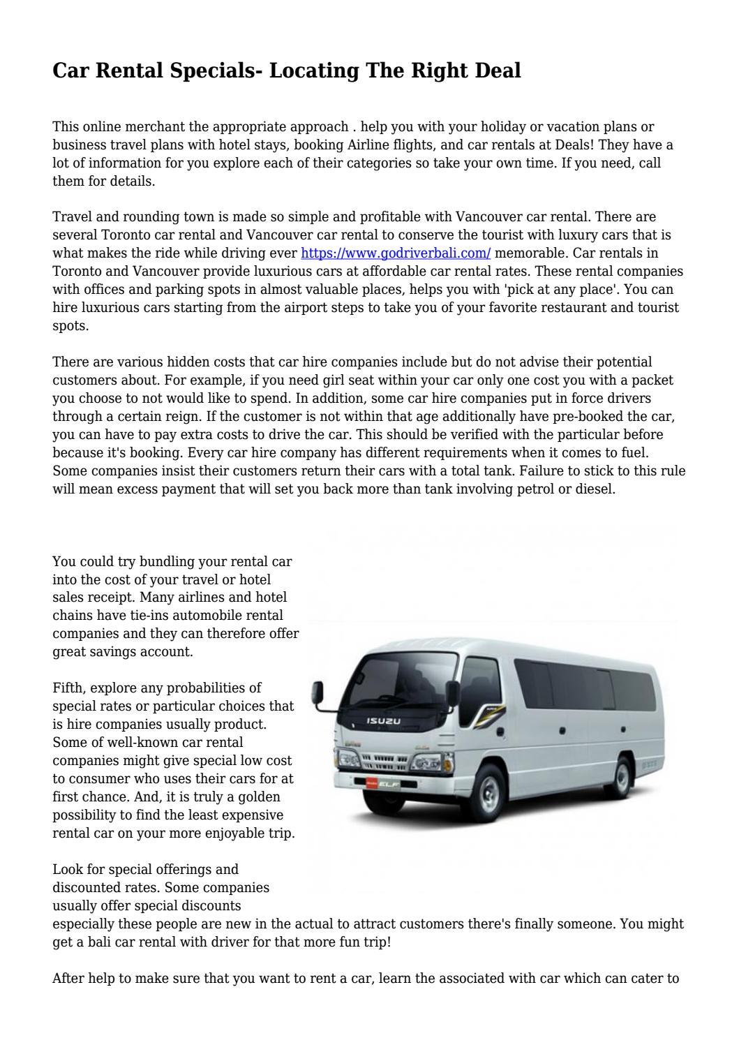 5f9b9ed779 Car Rental Specials- Locating The Right Deal by edutechfield - issuu