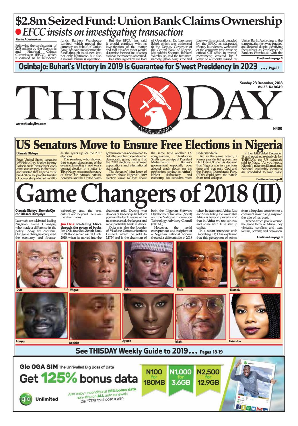 SUNDAY 23RD DECEMBER 2018 by THISDAY Newspapers Ltd - issuu