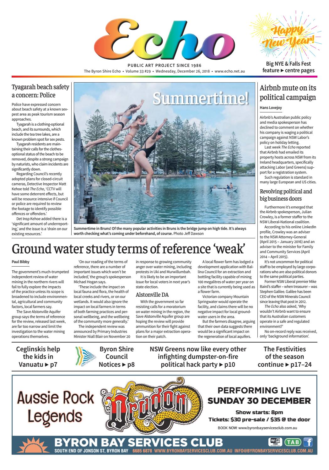 The Byron Shire Echo – Issue 33 29 – December 26, 2018 by