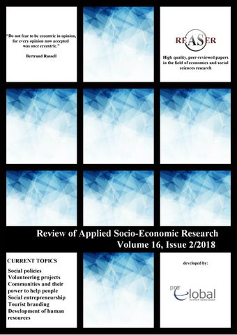 Review of Applied Socio-Economic Research 2/2018 by Rocsana