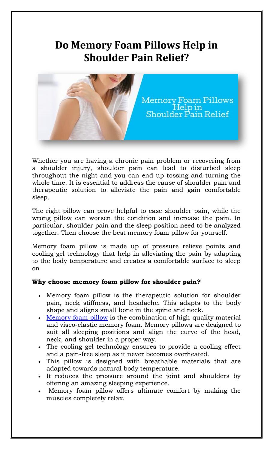 Do Memory Foam Pillows Help In Shoulder Pain Relief By Sleepsia India Pvt Ltd Issuu