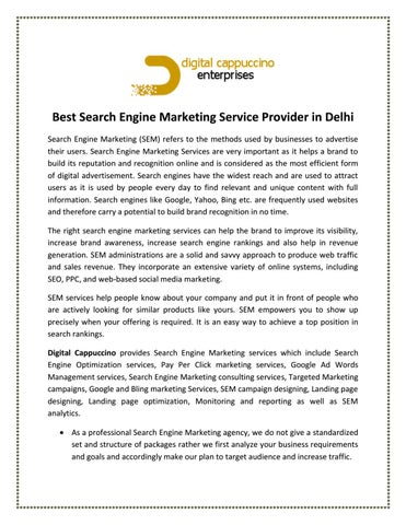 Best Search Engine Marketing Service Provider in Delhi by