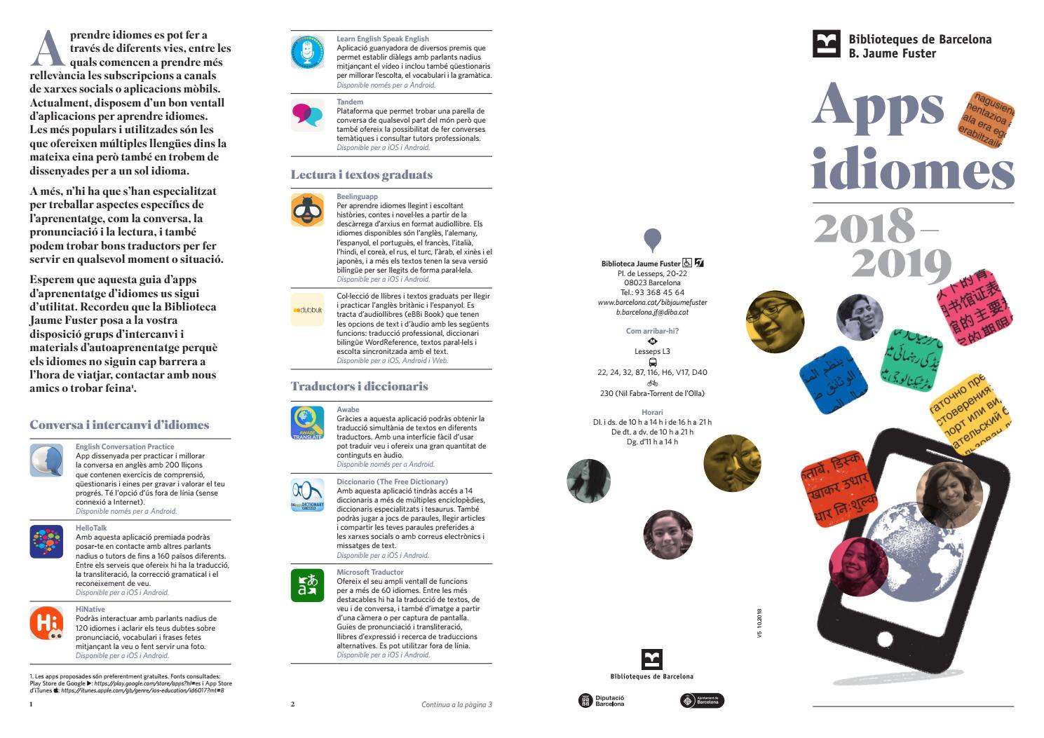 Guia Apps Idiomes 2018 2019 By Biblioteca Jaume Fuster Issuu