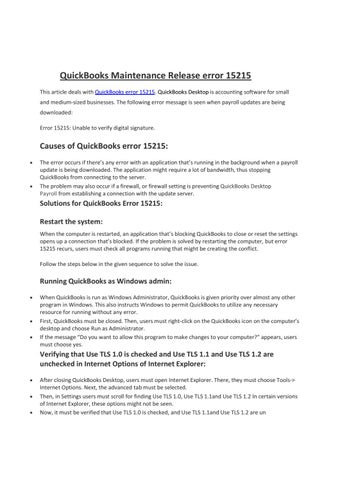 QuickBooks Maintenance Release error 15215 by Sadio Mane - issuu