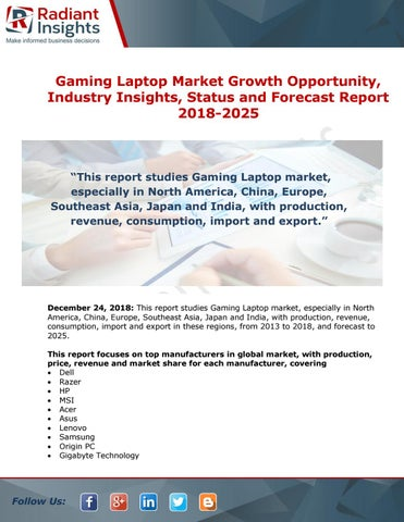 Gaming Laptop Market By Top Companies And Forecast Report 2018 2025 By Priya Sharma Issuu
