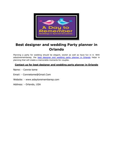 Best designer and wedding Party planner in Orlando by connie