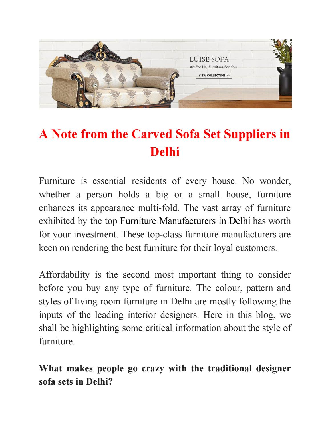A Note From The Carved Sofa Set Suppliers In Delhi By Saifurnitureart Issuu
