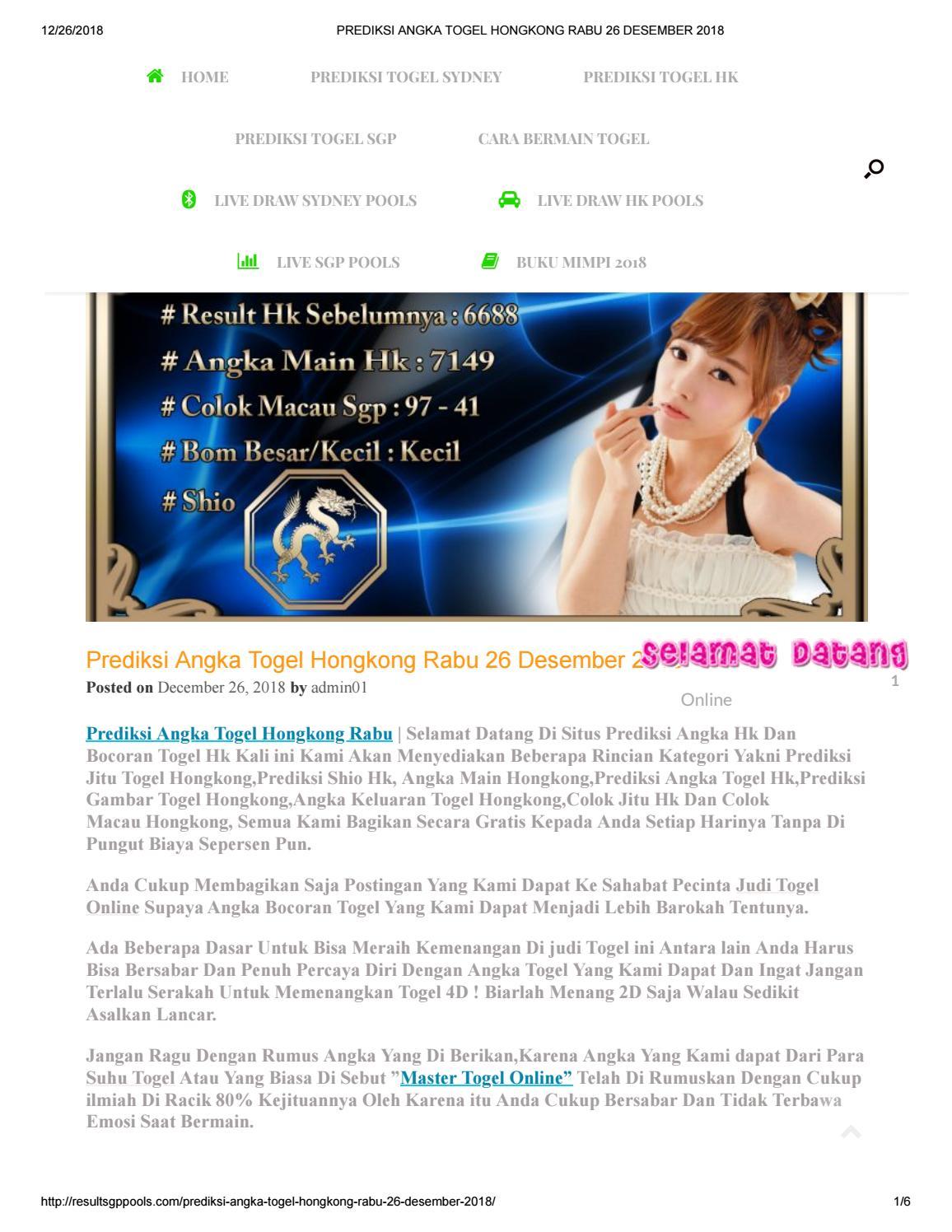 Prediksi Angka Togel Hongkong Rabu 26 Desember 2018 by angelina1310