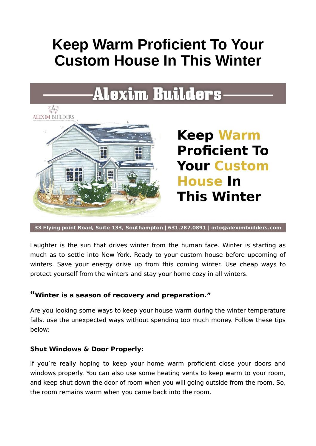Ways To Keep House Warm In Winters