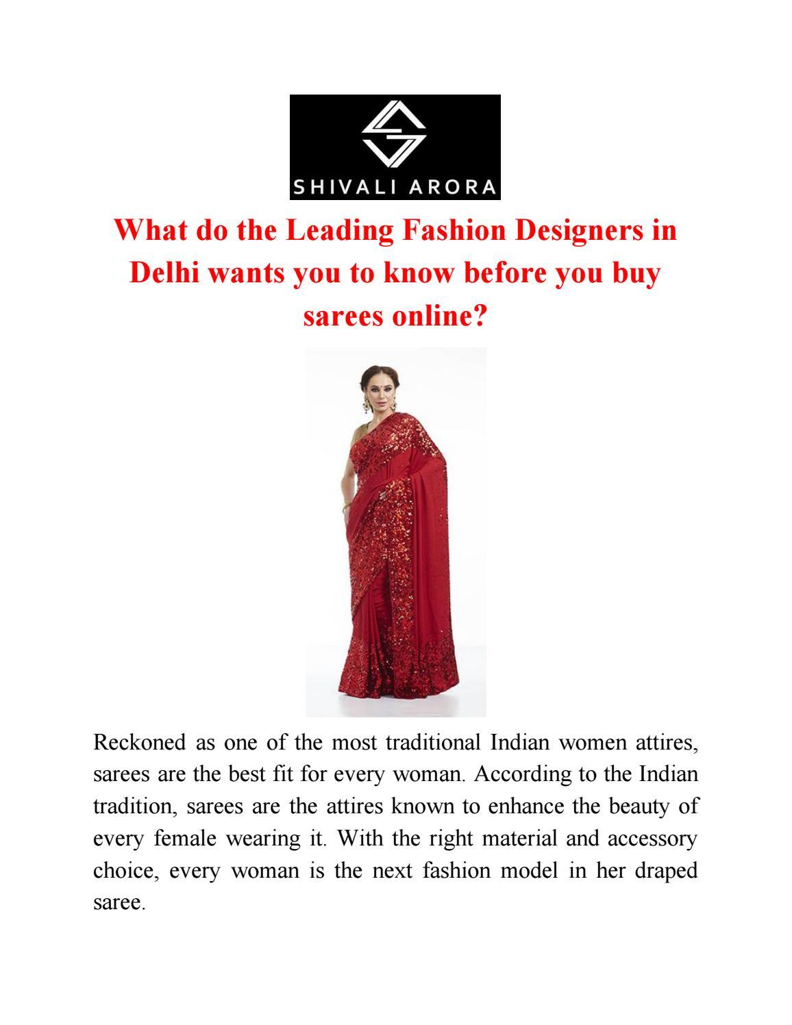 Buy Designer Sarees Online In Delhi Top Fashion Designers In Delhi By Shivali Arora Issuu