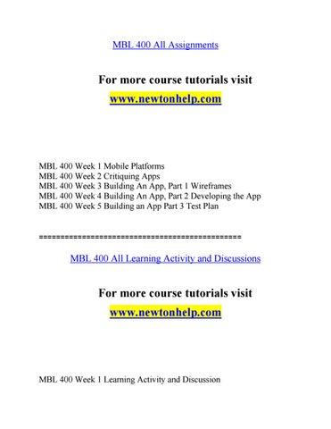 MBL 400 Expect Success/snaptutorial Com by awe multipledi