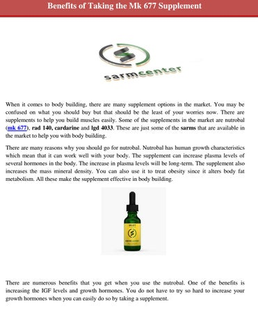 Benefits of Taking the Mk 677 Supplement by sarms canada