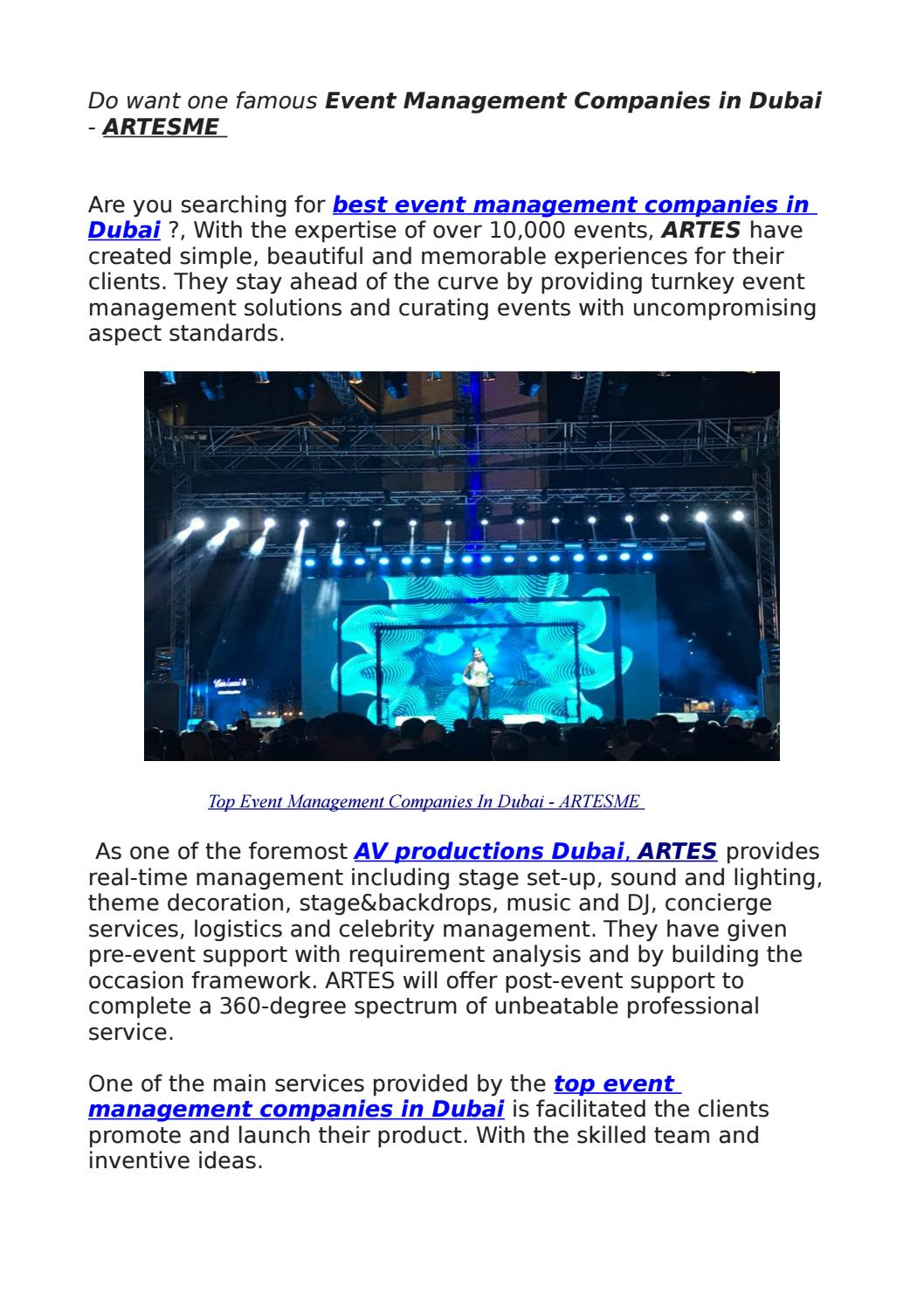 Do want one famous Event Management Companies in Dubai