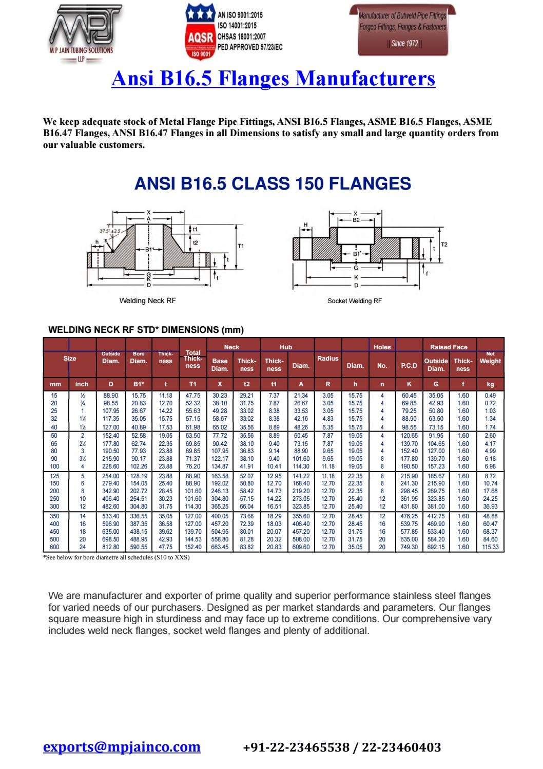 ansi b16 5 flanges manufacturers by M P JAIN TUBING SOLUTIONS LLP