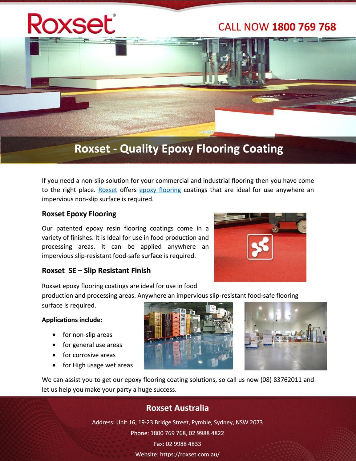 Roxset - Quality Epoxy Flooring Coating by RoxsetAustralia - issuu