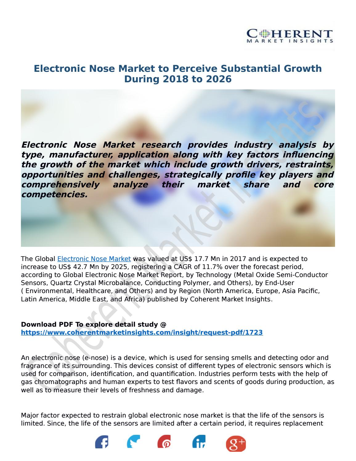 Electronic Nose Market to Perceive Substantial Growth During 2018 to 2026