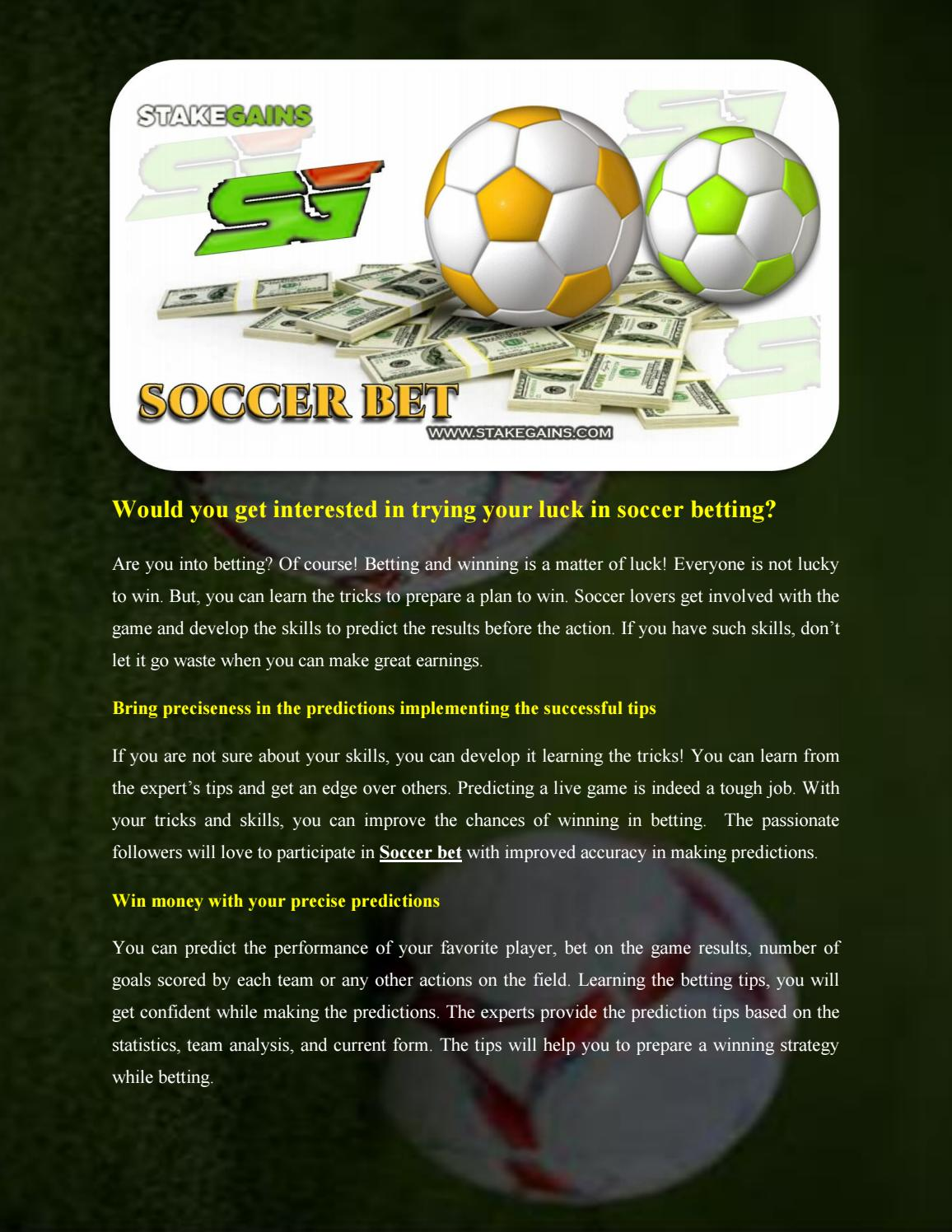 Soccer betting tips by stakegains1 - issuu