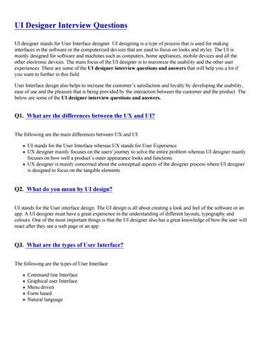 Ui Designer Interview Questions Pdf By Sandeeprjj123 Issuu