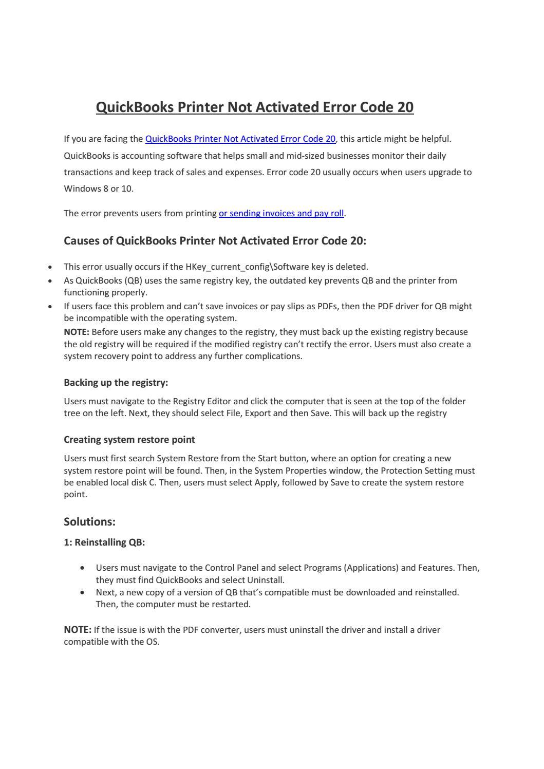 QuickBooks Printer Not Activated Error Code 20 by Sadio Mane - issuu