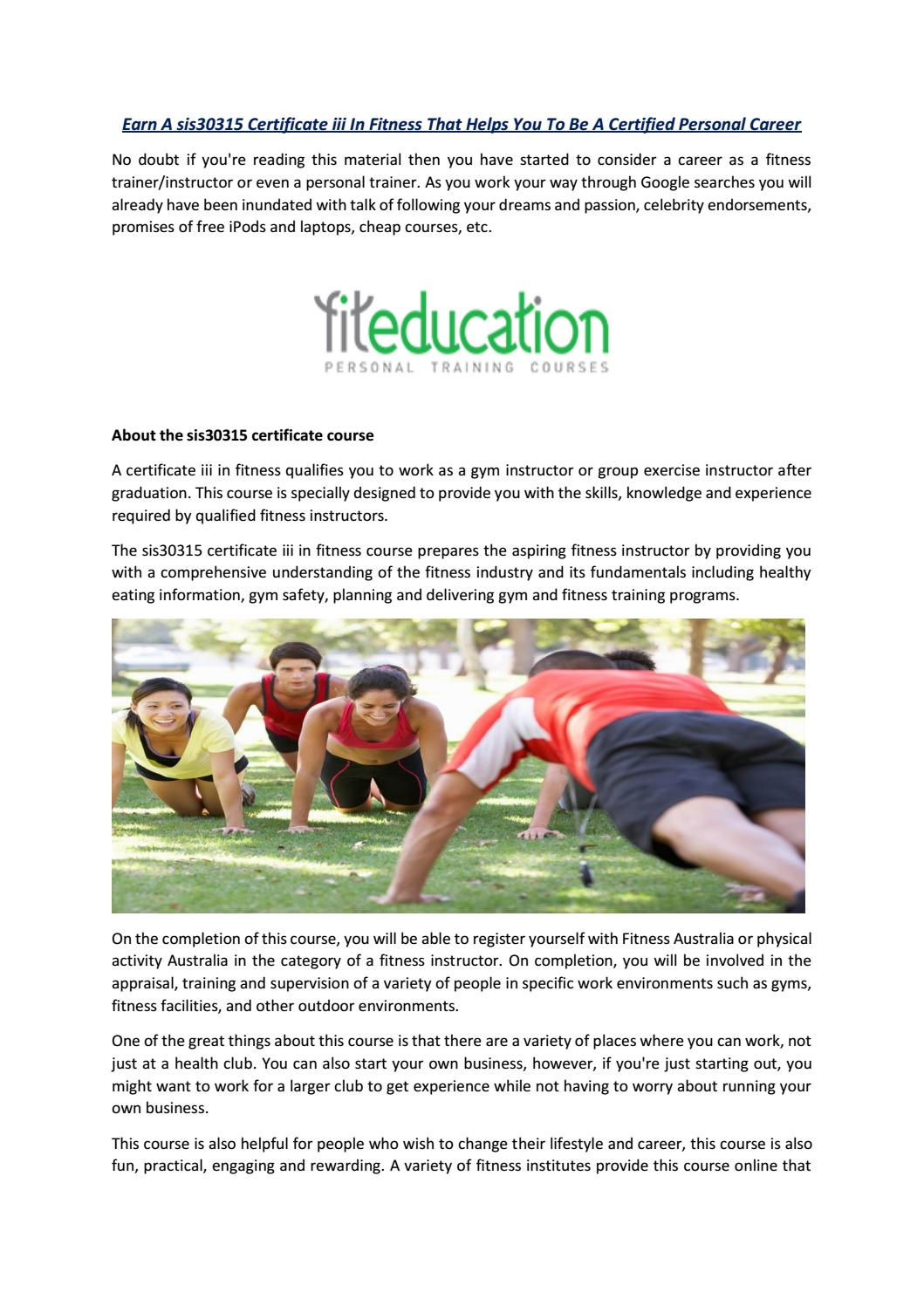 Sis30315 Certificate Iii In Fitness Fit Education By Fit Education