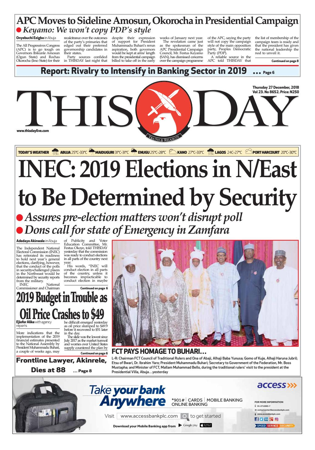 the best attitude 57e17 f4904 THURSDAY 27TH DECEMBER 2018 by THISDAY Newspapers Ltd - issuu