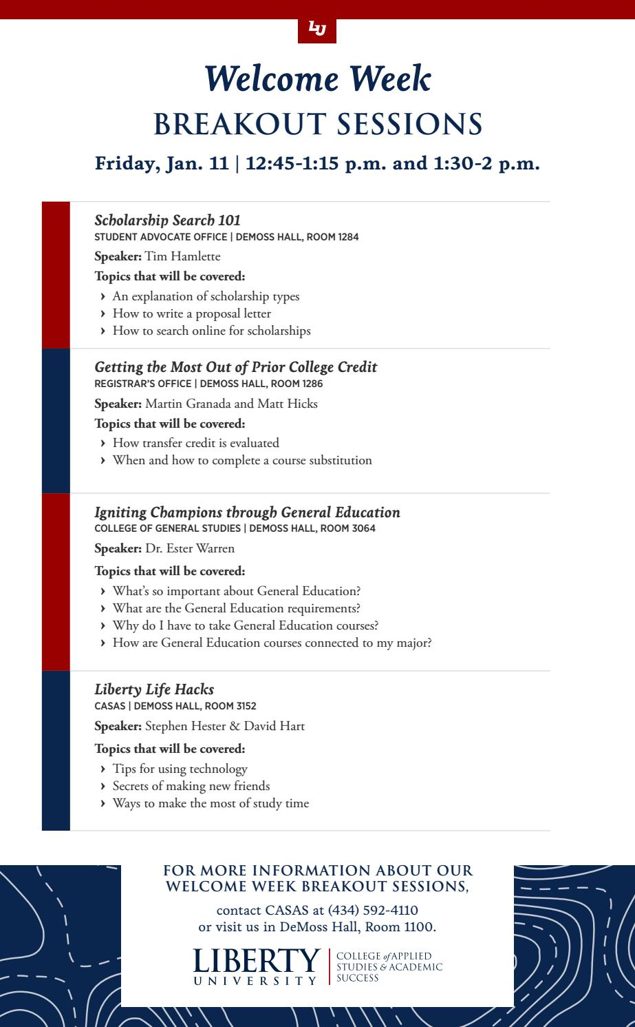 Welcome Week Breakout Sessions by Liberty University - issuu