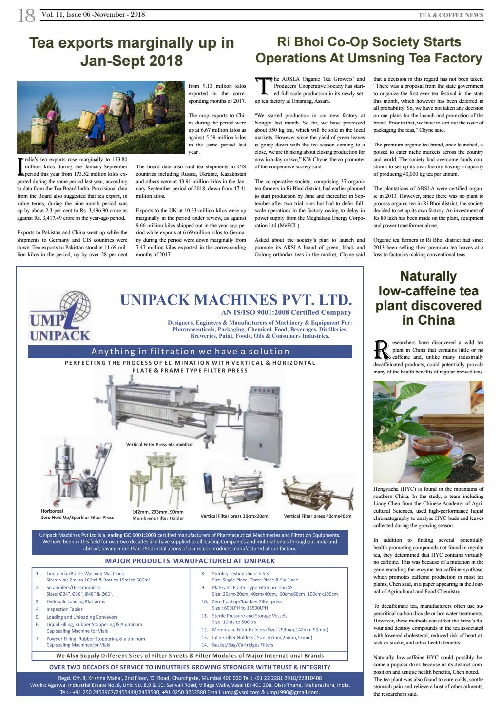 Beverages & Food Processing November 2018 by Advance Info