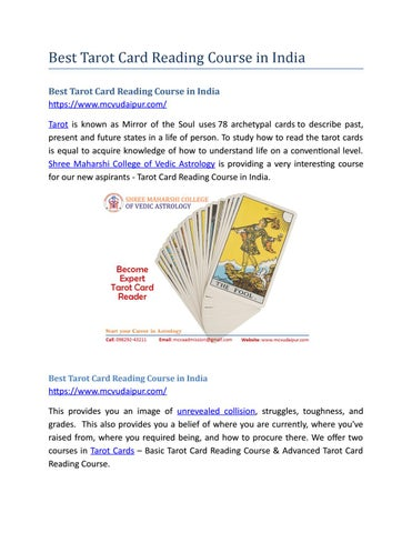 Best Tarot Card Reading Course in India