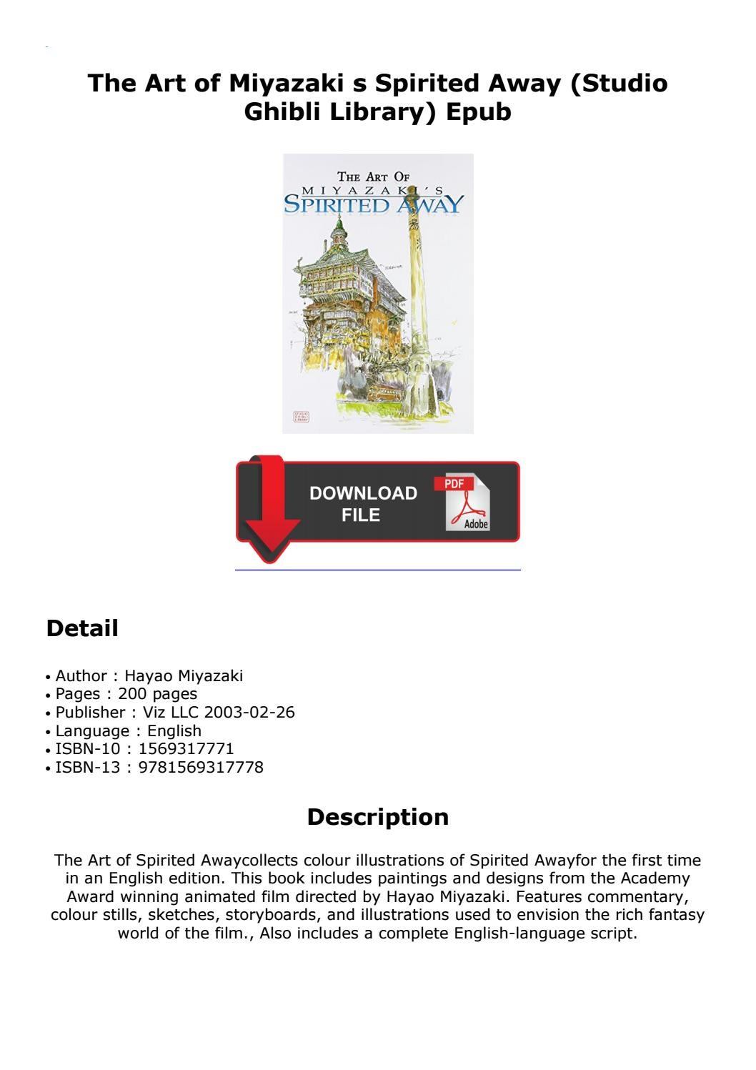 The Art Of Miyazaki S Spirited Away Studio Ghibli Library Epub By Dobroslawerfe Issuu