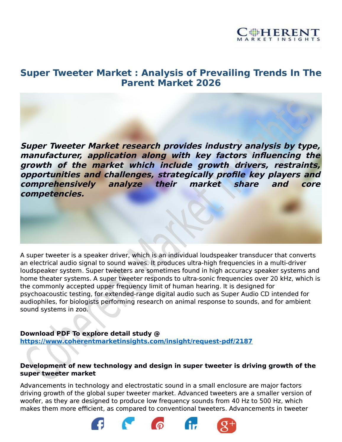 Super Tweeter Market : Analysis of Prevailing Trends In The Parent