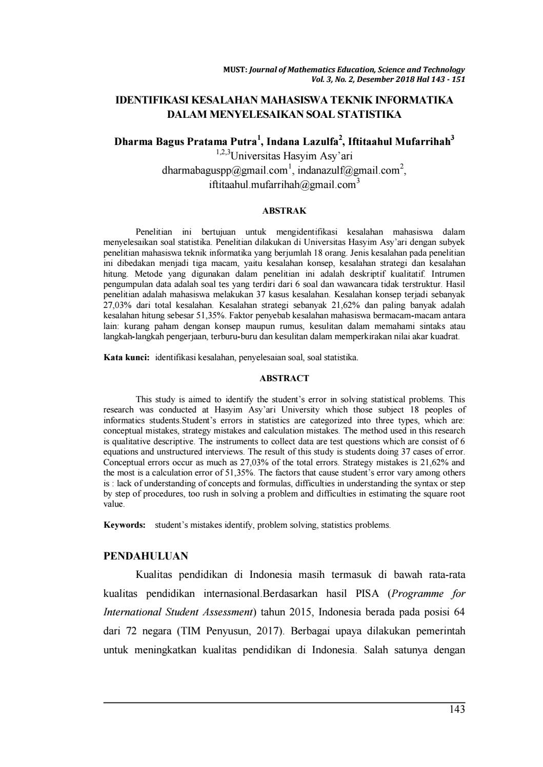 Identifikasi Kesalahan Mahasiswa Teknik Informatika Dalam