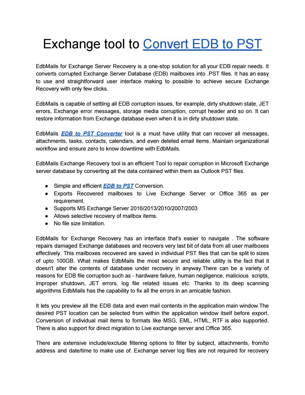 Exchange EDB to PST Conversion Tool by EdbMails - issuu