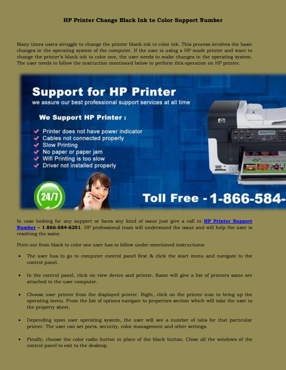 HP Printer Change Black Ink to Color by Printer