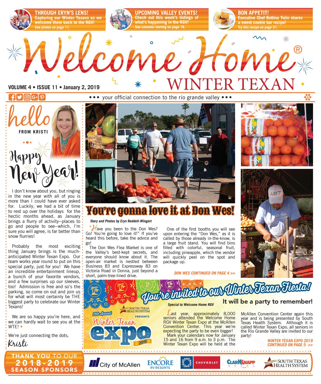 Welcome Home Winter Texan : Vol 4 Issue 11 : January 2, 2019