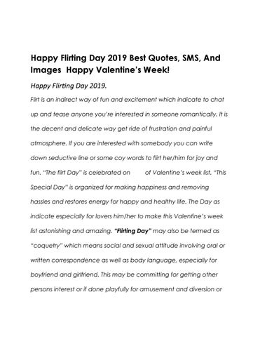 Happy Flirting Day 2019 Best Quotes Sms And Images Happy