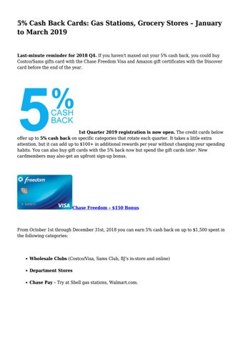 5% Cash Back Cards: Gas Stations, Grocery Stores – January to March