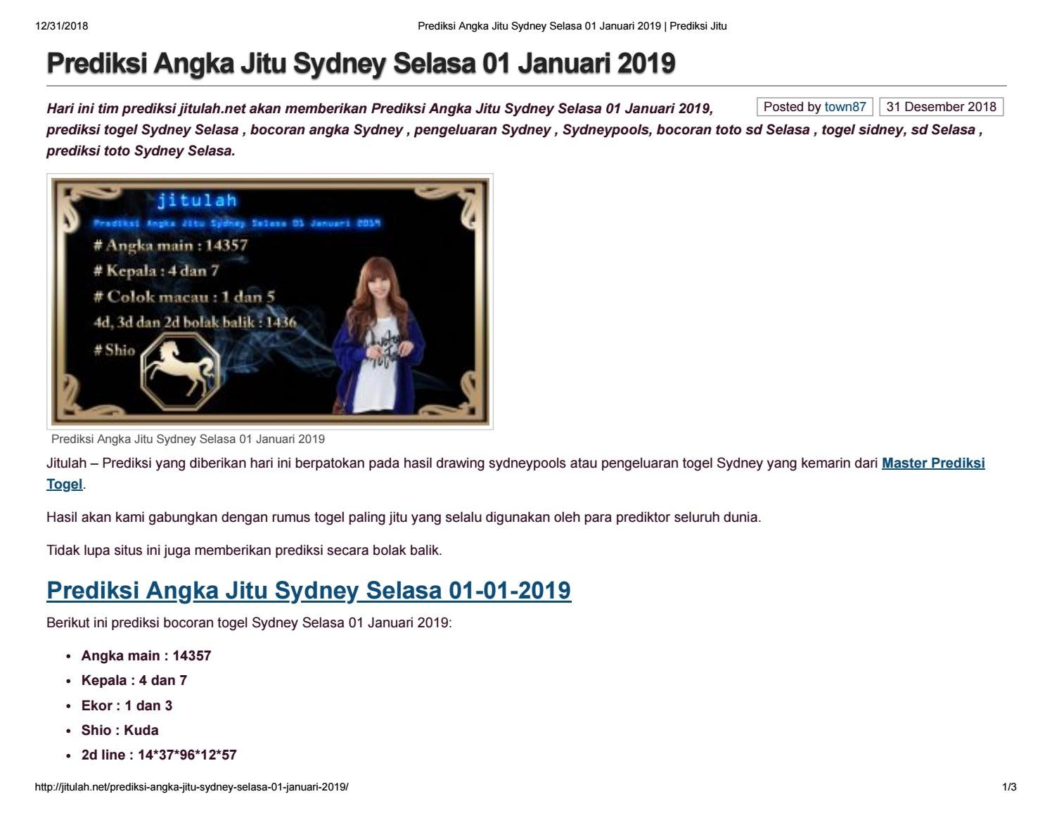 Prediksi Angka Jitu Sydney Selasa 01 Januari 2019 By Angelina1310 Issuu