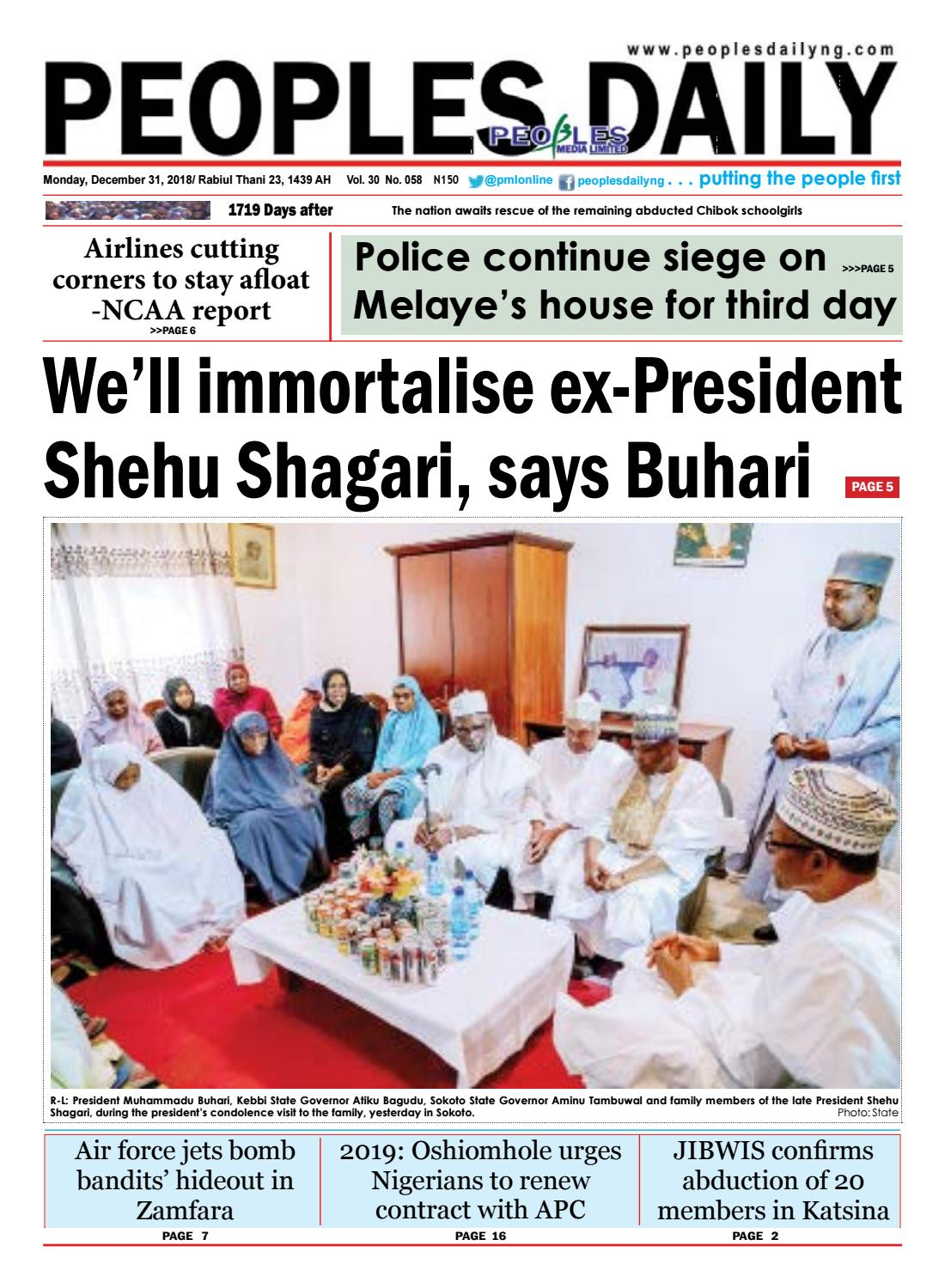 Monday, December 31, 2018 Edition by Peoples Media Limited