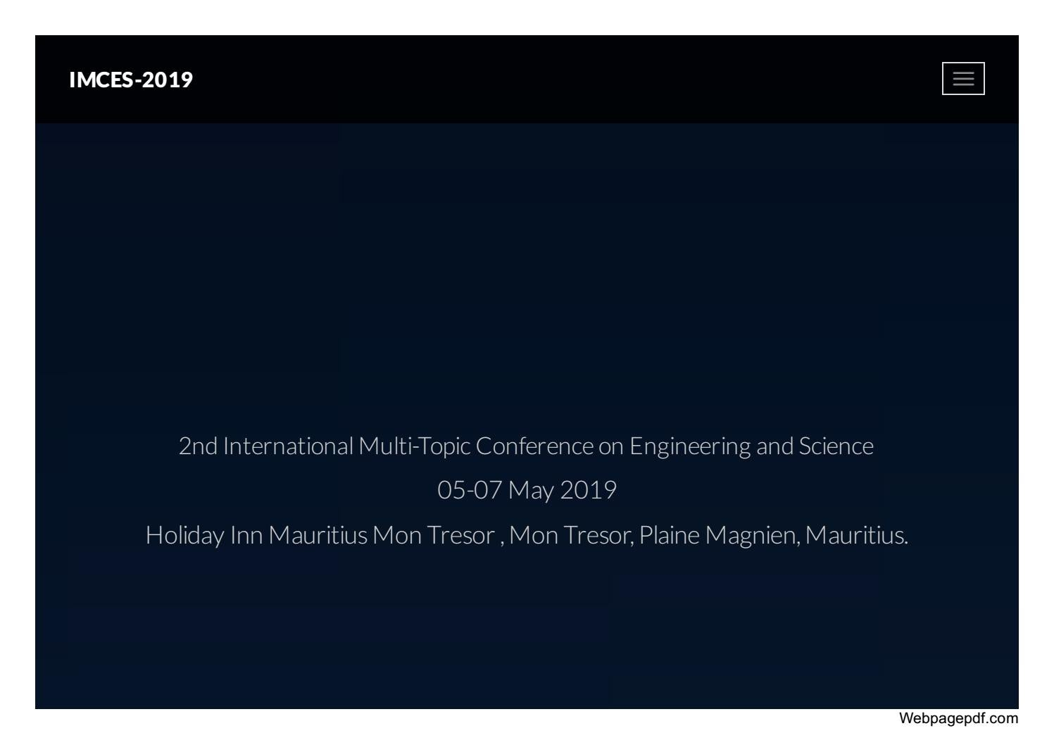 2nd International Multi-Topic Conference on Engineering and