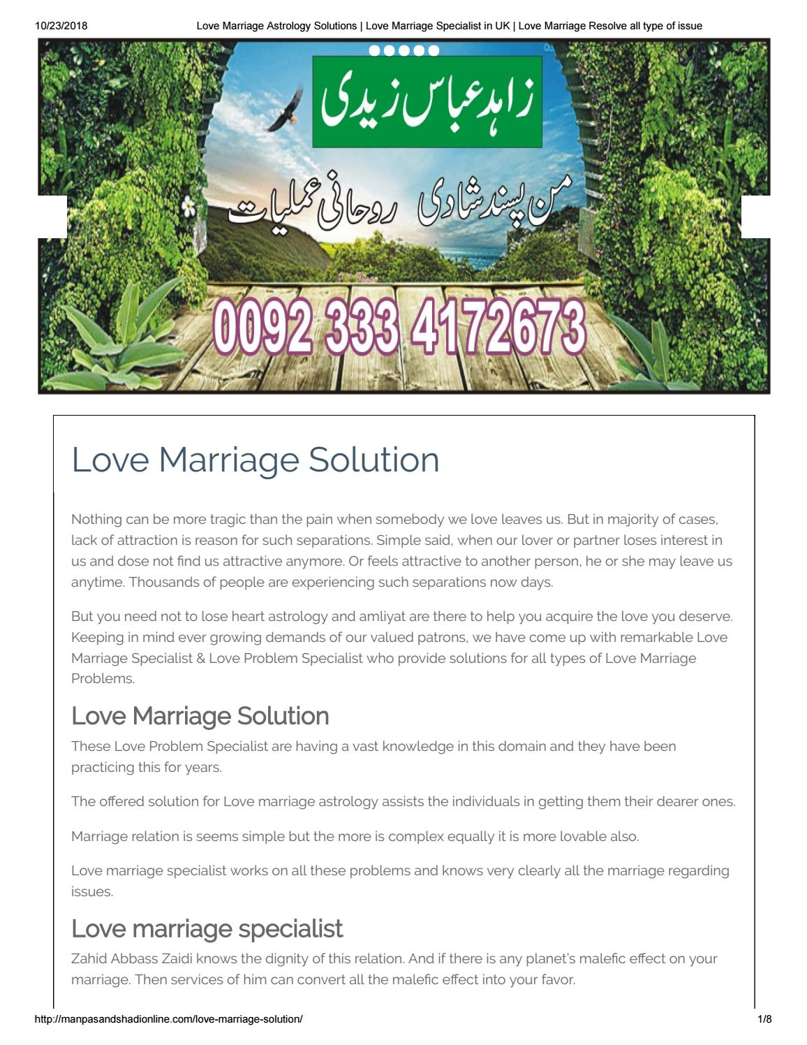 Love Marriage Solution by Zahid Abbass Zaidi - issuu