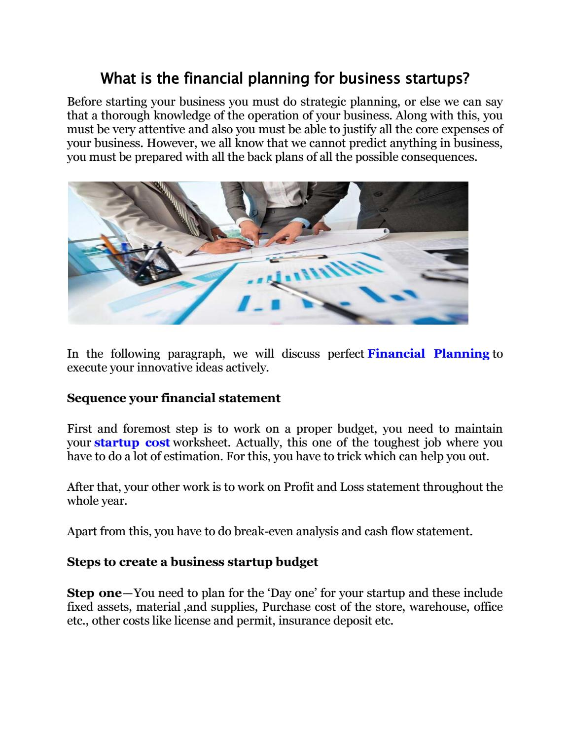 What Is The Financial Planning For Business Startups By