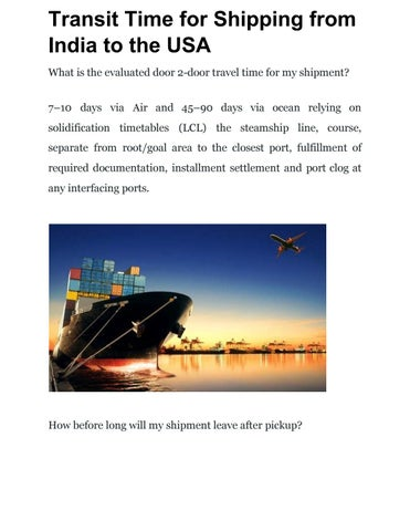Transit Time for Shipping from India to the USA by Sujay G - issuu
