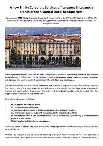 Trinity Corporate Services will be operating in Switzerland through