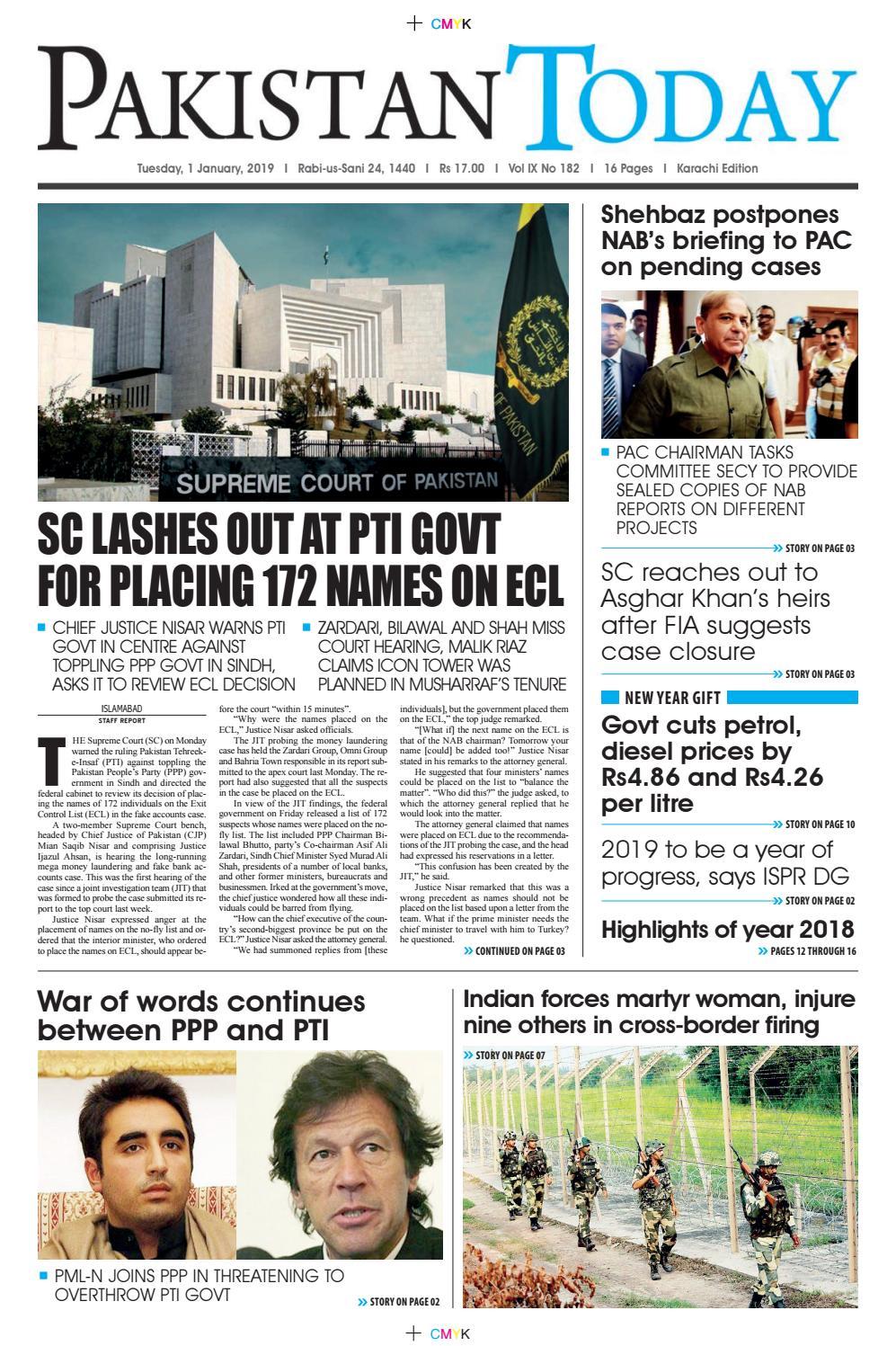 E-Paper PDF 1 January 2019 (KHI) by Pakistan Today - issuu