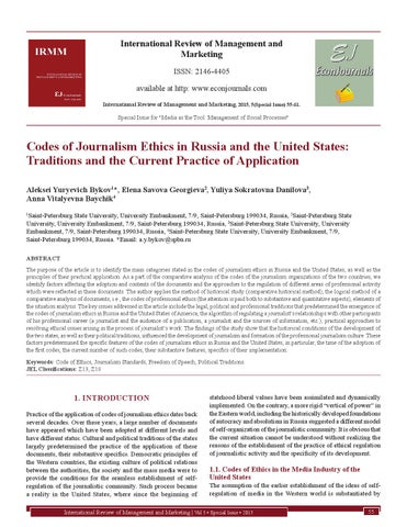 Codes of Journalism Ethics in Russia and the United States