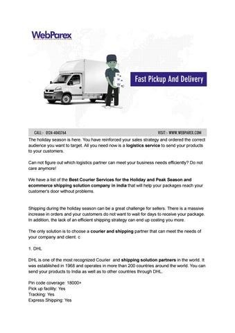 Best Courier Services for the Holiday and Peak Season by Web