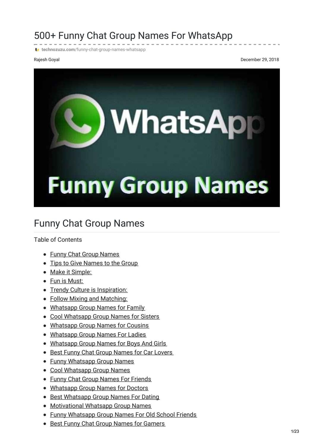 Funny chat group names by rajgyl15 - issuu