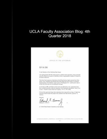 UCLA Faculty Assn  Blog - 4th Quarter 2018 by Daniel J B