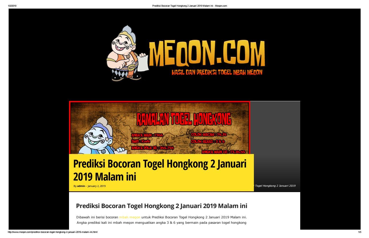 Prediksi Bocoran Togel Hongkong 2 Januari 2019 Malam ini - Meqon